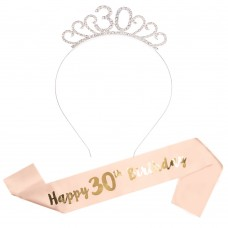 Happy Birthday Sash Tiara Set 16/18/21st/30/50/60th Girl Crown Rose Gold Party(30)